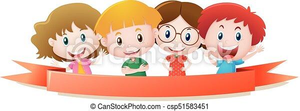 4, 微笑, 子供, テンプレート, ラベル - csp51583451