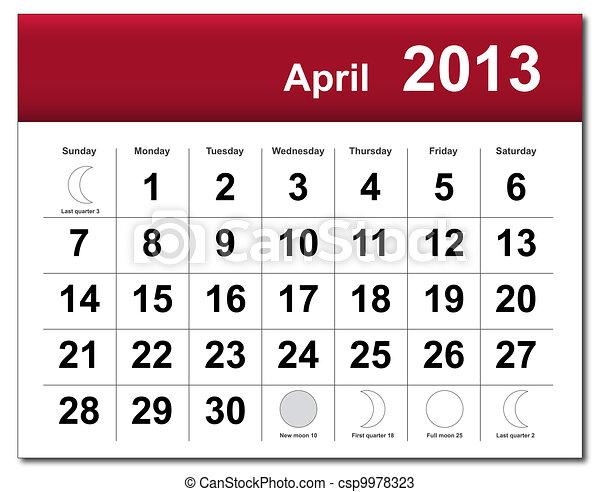 4 月, カレンダー, 2013 - csp9978323