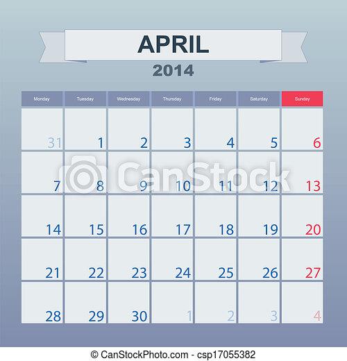 4 月, カレンダー, monthly., 2014, スケジュール - csp17055382