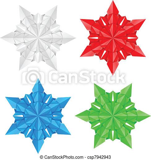 4, 종이, 눈송이, 다채로운 - csp7942943