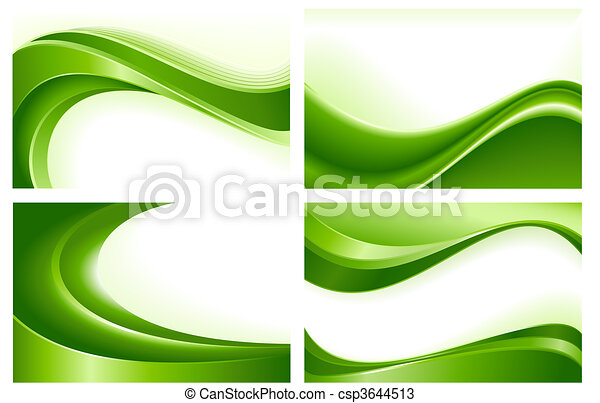 4 abstract green wave backgrounds - csp3644513