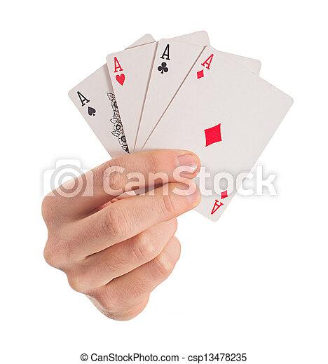 4, aces, крупный план, держа, рука - csp13478235