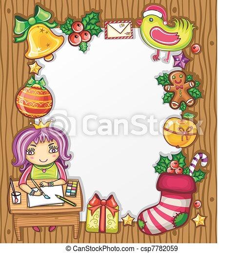 4, brief, kerstman - csp7782059