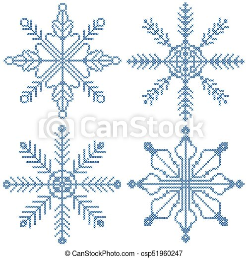 4 cross stitch snowflakes - csp51960247