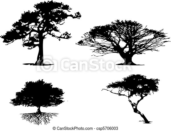 4 different types of tree silhouett - csp5706003