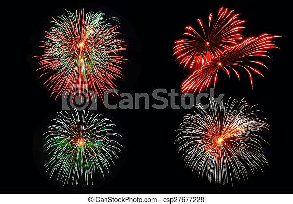 4 Fireworks pattern - csp27677228