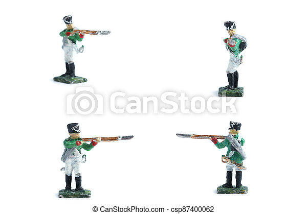 4 in 1 image of handmade tin soldiers in green uniform with musket - csp87400062