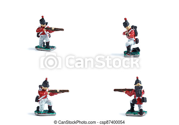 4 in 1 image of handmade tin soldiers in red uniform with musket - csp87400054