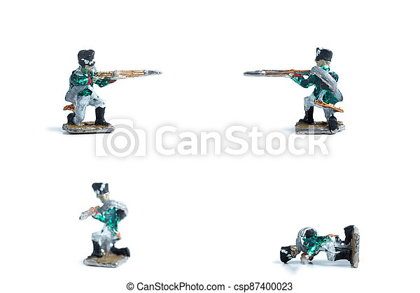 4 in 1 image of handmade tin soldiers with musket on the white background - csp87400023