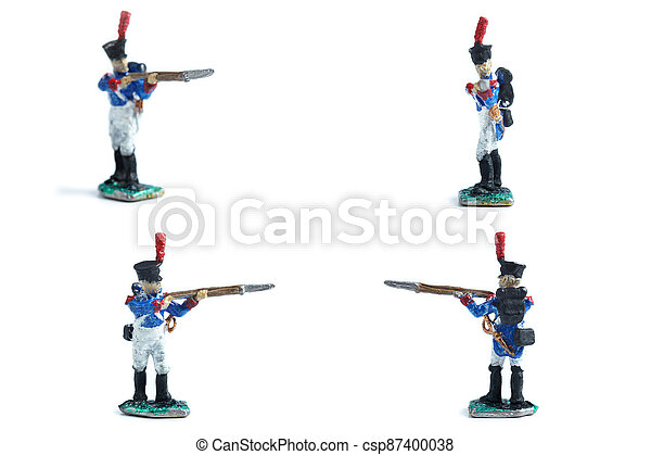 4 in 1 image of tin soldiers with musket on the white background - csp87400038