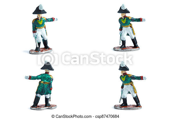 4 in 1 image of tin soldiers with sword on the white background - csp87470684