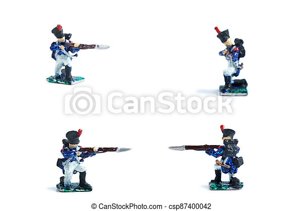 4 in 1 photo of handmade metal soldiers with musket on the white background - csp87400042