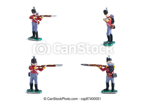 4 in 1 photo of handmade tin soldiers in red uniform with musket - csp87400051