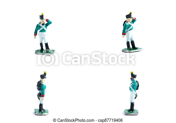 4 in 1 photo of handmade tin soldiers in green uniform - csp87719406