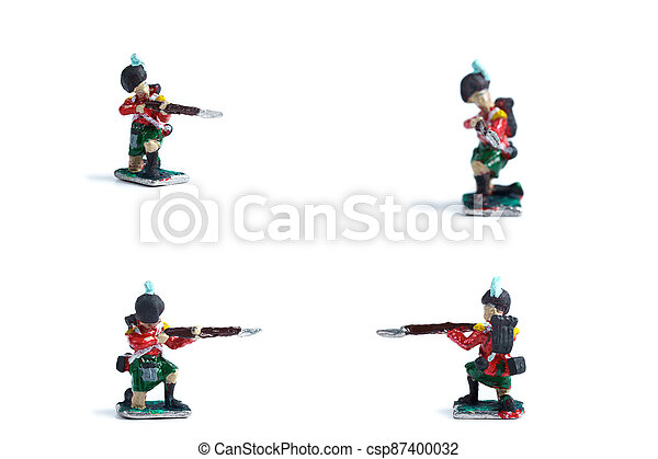 4 in 1 photo of tin soldiers with musket on the white background - csp87400032