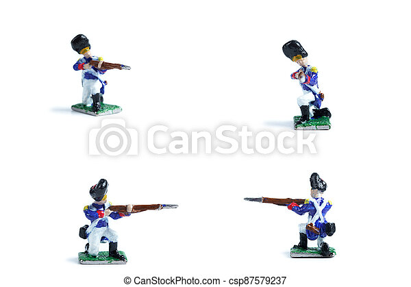4 in 1 shot of handmade metal soldiers with musket on the white background - csp87579237