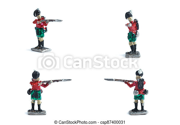 4 in 1 shot of handmade tin soldiers with musket on the white background - csp87400031