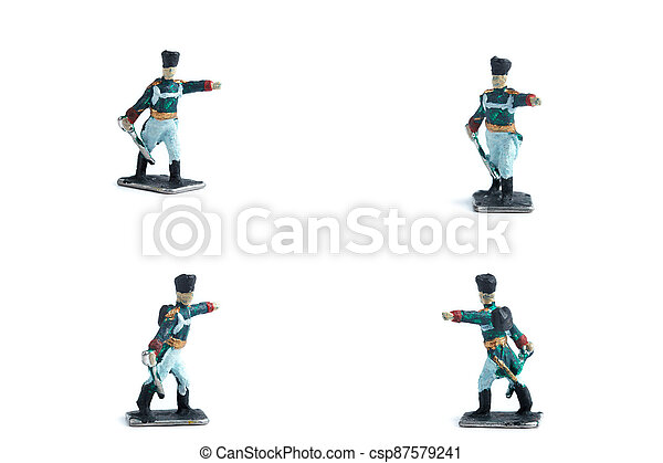 4 in 1 shot of tin soldiers with sword on the white background - csp87579241