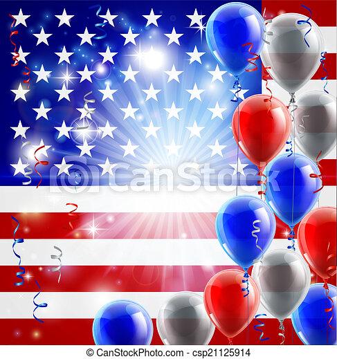4 julho, balões, eua, fundo - csp21125914