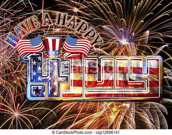 4 july fireworks hat csp12696141