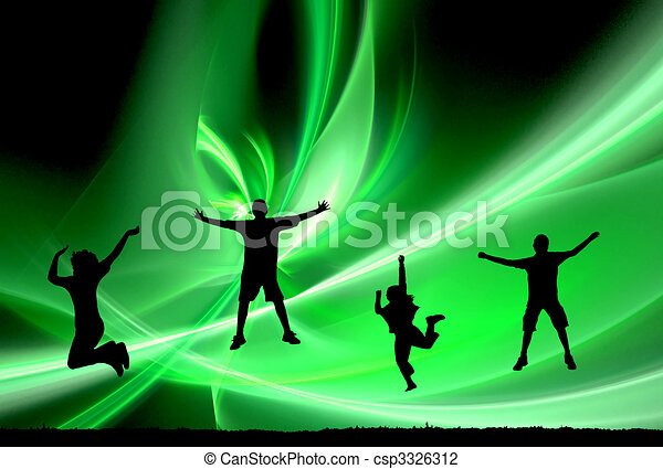 4 jumping silhouettes - csp3326312