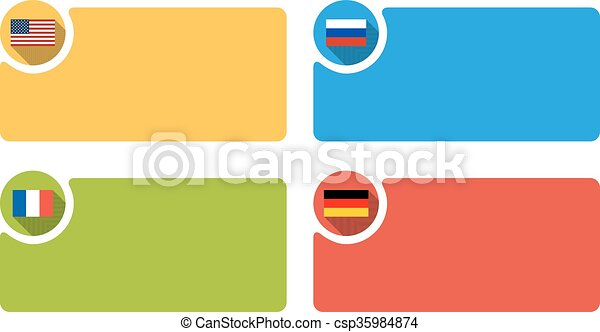 4 labels with flag of USA, Russia, France and Germany, infographic template - csp35984874