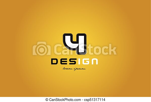 4 number numeral digit white on yellow background - csp51317114