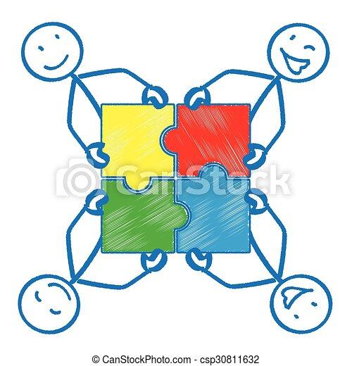 4 Stickman Rectangle Puzzle - csp30811632