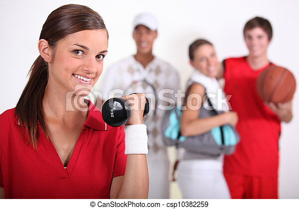 4 teenagers practicing different sports - csp10382259