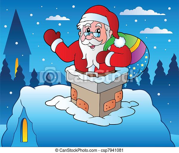 4, tema, inverno, cena natal - csp7941081