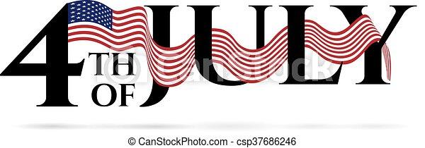 4-th, heureux, jour, indépendance, july. - csp37686246