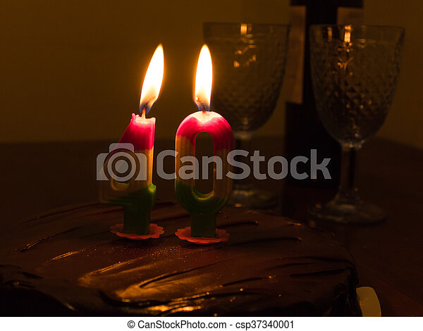 40 Candle On Chocloate Birthday Cake