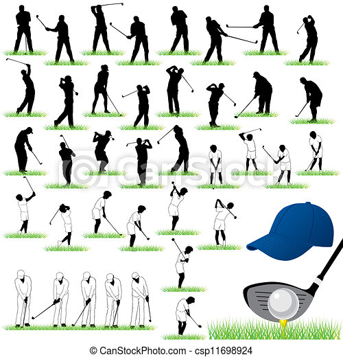 40 Detailed Golf vector silhouettes - csp11698924