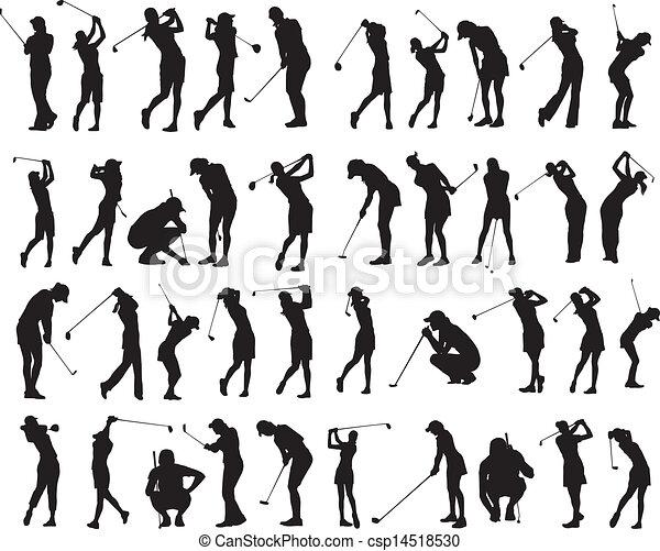 40 female golf poses silhouette - csp14518530