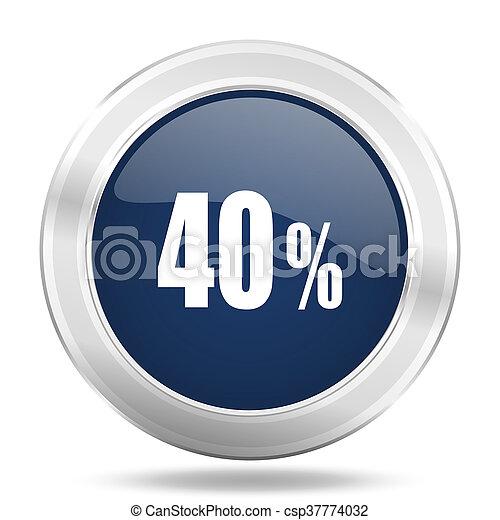 40 percent icon, dark blue round metallic internet button, web and mobile app illustration - csp37774032