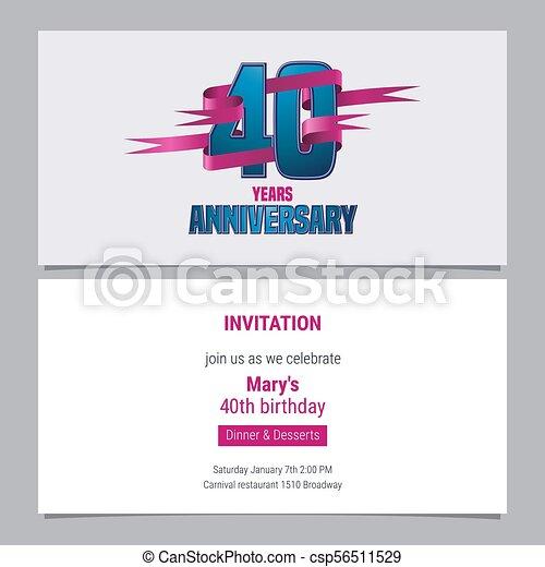 40 Years Anniversary Invitation To Celebration Vector Illustration