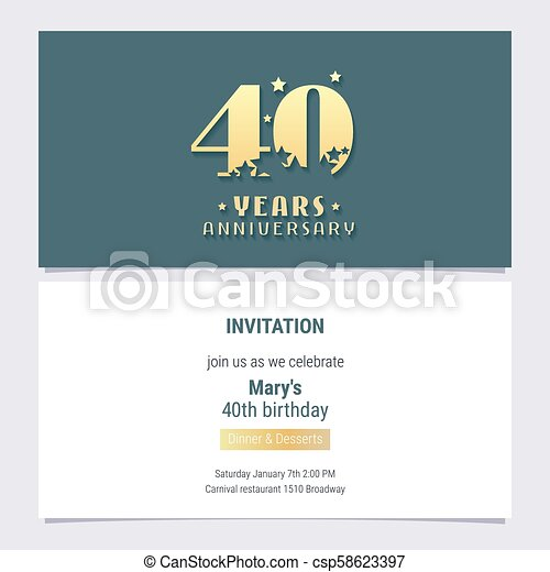 40 Years Anniversary Invitation Vector