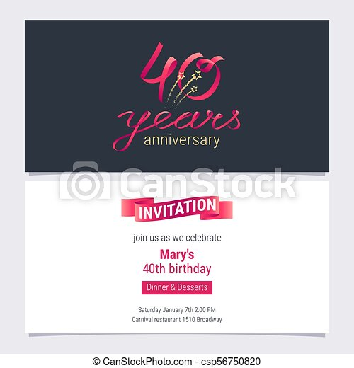 40 Years Anniversary Invite Vector Illustration Graphic Design Element For 40th Birthday Card