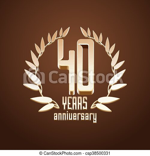 40 years anniversary vector logo sign emblem symbol with gold