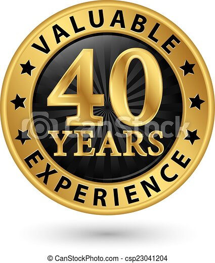40 years valuable experience gold label vector illustration
