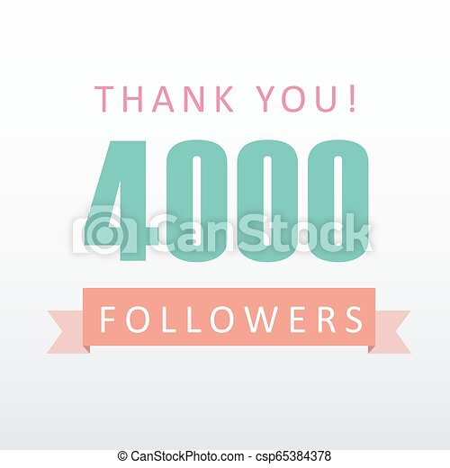 4000 Followers Thank You Number With Banner Social Media Gratitude