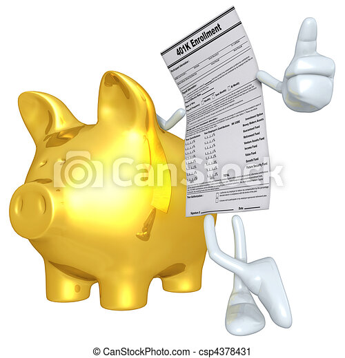 401K Form With Gold Piggy Bank  - csp4378431