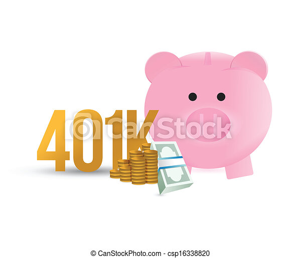 401k piggybank illustration design - csp16338820