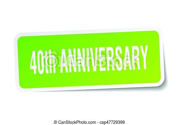 40th anniversary square sticker on white - csp47729399
