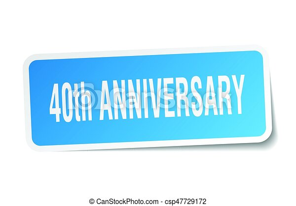40th anniversary square sticker on white - csp47729172