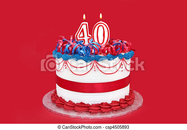 40th Cake With Numeral Candles On Vibrant Red Background