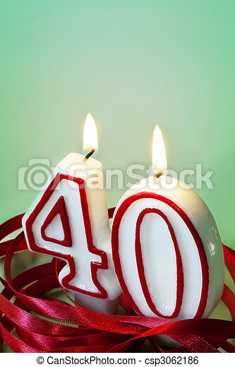 40th Candles Number 40 Surrounded By Red Ribbon