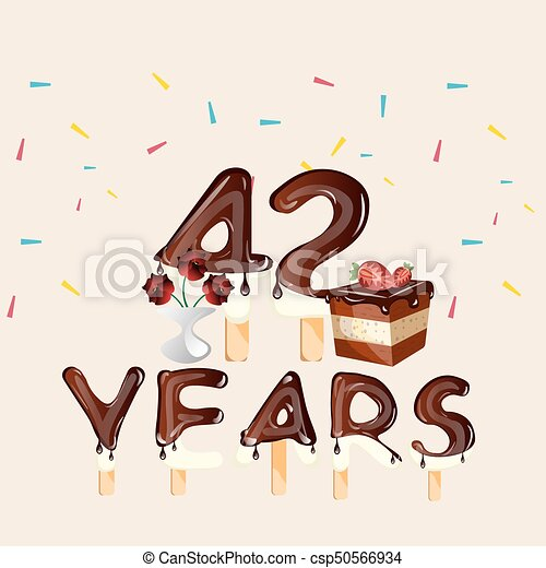 42 Anniversario Di Matrimonio.42 Years Happy Birthday Card Vector Illustration