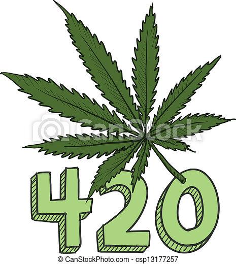 420 marijuana sketch - csp13177257