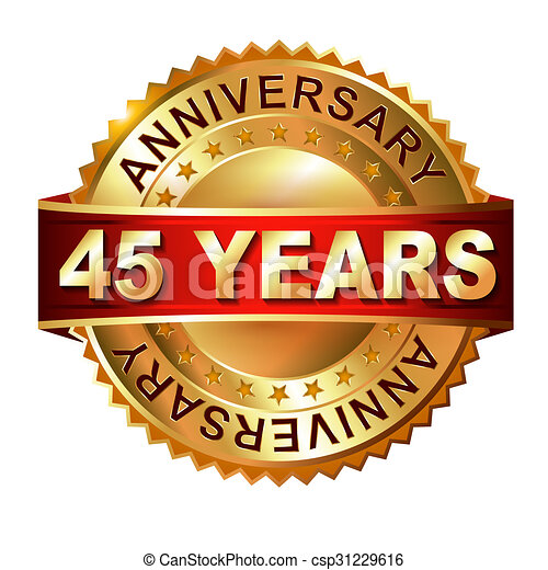 45 years anniversary golden label with ribbon. - csp31229616